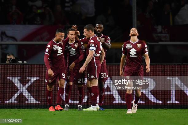 Alejandro Berenguer of Torino FC celebrates a goal with team mates during the Serie A match between Torino FC and AC Milan at Stadio Olimpico di...