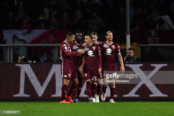 Alejandro Berenguer of Torino FC celebrates a goal with teammates during the Serie A match between Torino FC and AC Milan at Stadio Olimpico di...