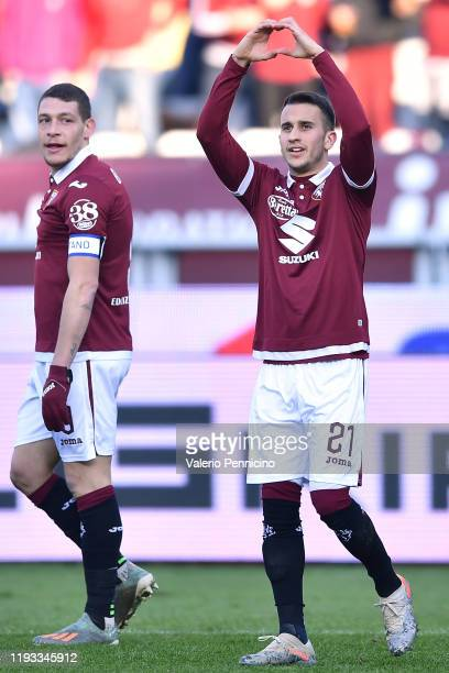 Alejandro Berenguer of Torino FC celebrates the opening goal during the Serie A match between Torino FC and Bologna FC at Stadio Olimpico di Torino...
