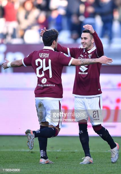 Alejandro Berenguer of Torino FC celebrates the opening goal with team mate Simone Verdi during the Serie A match between Torino FC and Bologna FC at...