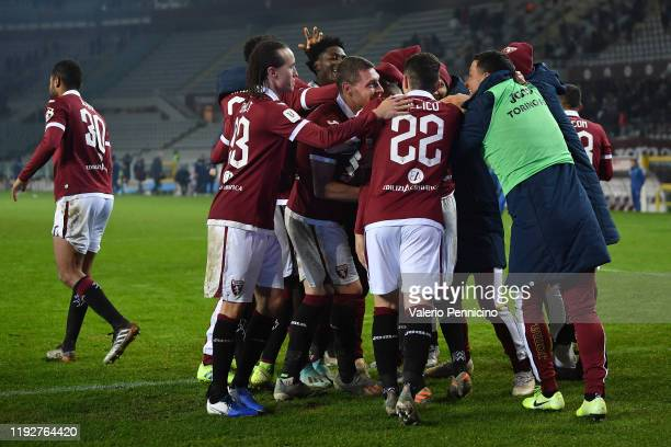 Alejandro Berenguer of Torino FC celebrates with teammates after scoring his goal from the penalty spot during the Coppa Italia match between Torino...