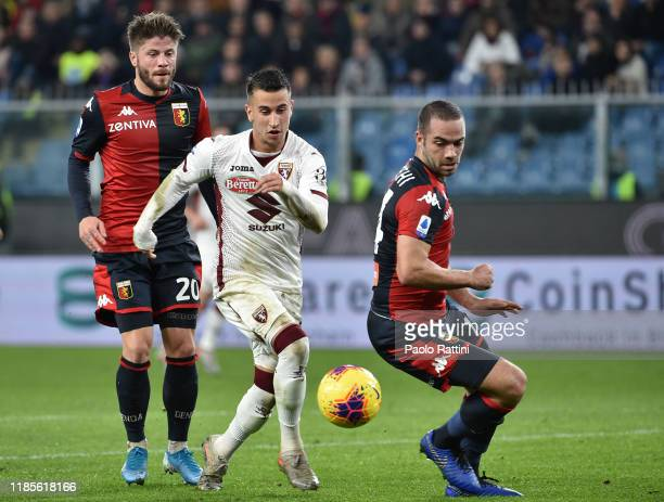 Alejandro Berenguer of Torino FC with Davide Biraschi and Lasse Schone of Genoa CFC during the Serie A match between Genoa CFC and Torino FC at...