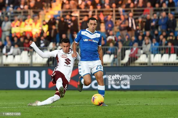 Alejandro Berenguer of Torino scores his team's fourth goal during the Serie A match between Brescia Calcio and Torino FC at Stadio Mario Rigamonti...