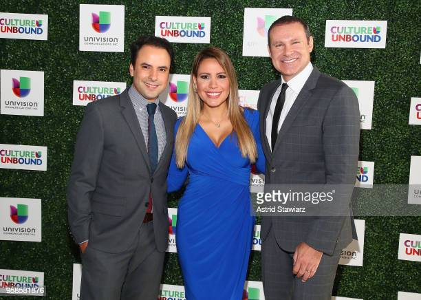 Alejandro Berry Lindsay Casinelli and Alan Tacher attend the 2018 Univision Upfront at Spring Studios on May 14 2018 in New York City