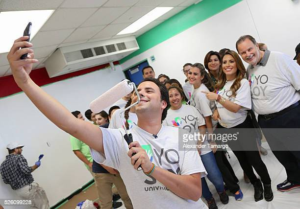 Alejandro Berry Lindsay Casinelli and Raul de Molina are seen during Univision's Media Centers/Week of Service at Ruben Dario Middle School on April...