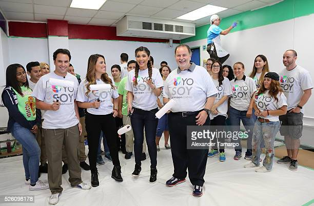 Alejandro Berry Lindsay Casinelli Chiquinquira Delgado and Raul de Molina are seen during Univision's Media Centers/Week of Service at Ruben Dario...