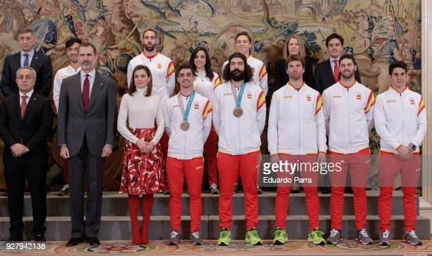 Alejandro Blanco King Felipe VI of Spain Queen Letizia of Spain artistic skater Javier Fernandez and snowboarder Regino Hernandez receive the spanish...
