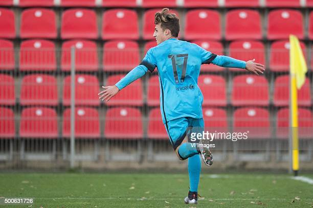 Alejandro Blanco of FC Barcelona U19 celebrate his goal during the UEFA Youth League match between Bayer 04 Leverkusen U19 and Barcelona U19 on...
