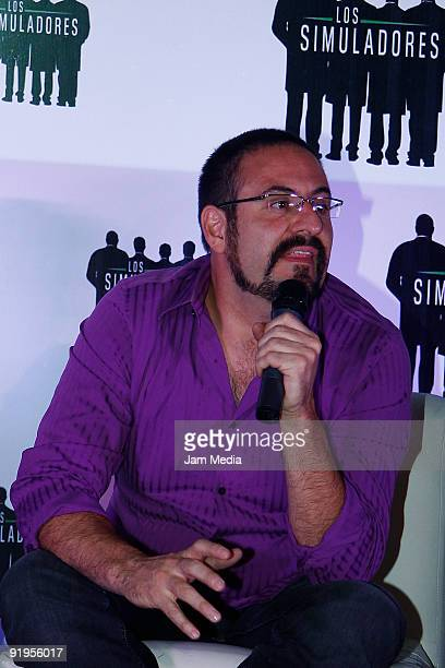 Alejandro Calva speaks during a press conference to present the second season of Los Simuladores TV show at Cinepolis Miramontes on October 16 2009...