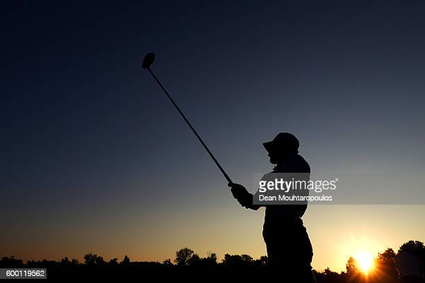 Alejandro Canizares of Spain hits a shot on the driving range before the first round on day one of the KLM Open at The Dutch on September 8 2016 in...