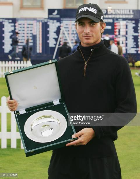 Alejandro Canizares of Spain is presented with the European Tour Player of the Month for August trophy during the Third Round of The Alfred Dunhill...
