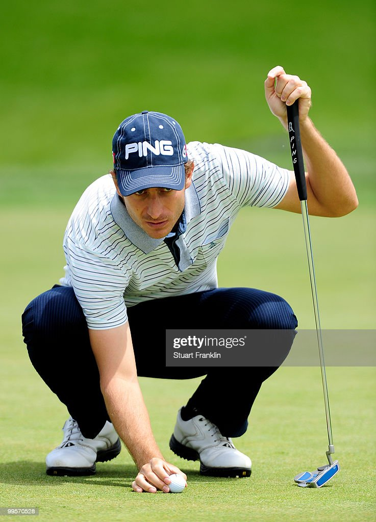 Alejandro Canizares of Spain lines up his putt on the eighth hole during the third round of the Open Cala Millor Mallorca at Pula golf club on May 15, 2010 in Mallorca, Spain.