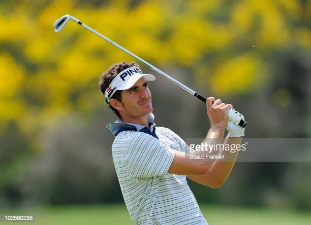Alejandro Canizares of Spain plays his appraoch shot on the 18th hole during the second round of the Open de France ALSTOM at the Le Golf National...