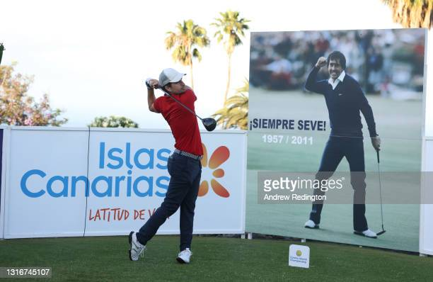 Alejandro Canizares of Spain prepares to tee off on the first hole in front of a photograph of Seve Ballesteros to mark ten years since his passing...
