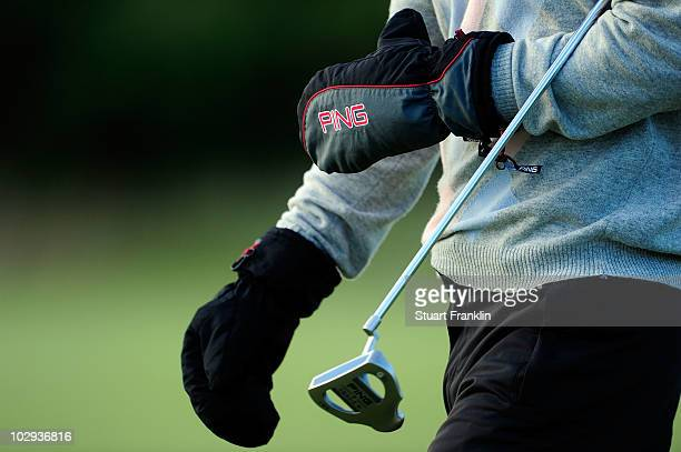 Alejandro Canizares of Spain wears mittens during the second round of the 139th Open Championship on the Old Course St Andrews on July 16 2010 in St...