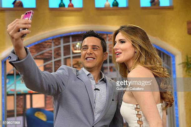 Alejandro Chaban and Bella Thorne are seen on the setof Univisions despierta America in support of the film Ratchet Clank at Univision Headquarters...