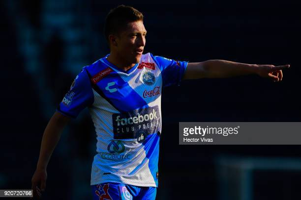 Alejandro Chumacero of Puebla gestures during the 8th round match between Cruz Azul and Puebla as part of the Torneo Clausura 2018 Liga MX at Azul...