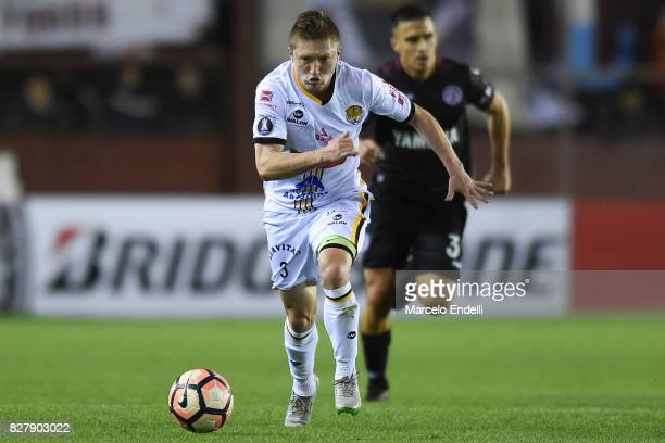Alejandro Chumacero of The Strongest runs for the ball during the second leg match between Lanus and The Strongest as part of round of 16 of Copa...