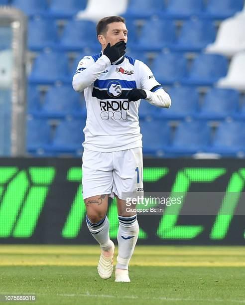 Alejandro Dario Gomez of Atalanta BC celebrates after scoring goal 02 during the Serie A match between US Sassuolo and Atalanta BC at Mapei Stadium...