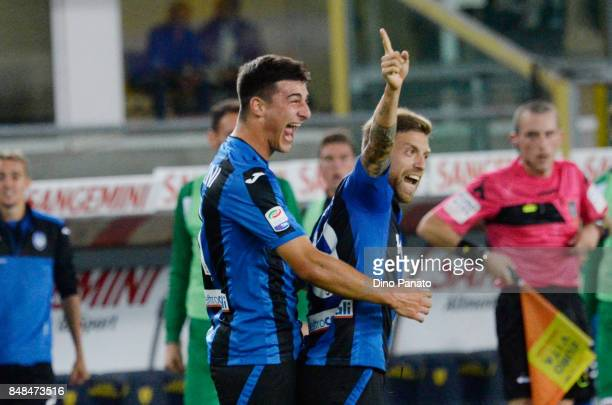 Alejandro Dario Gomez of Atalanta BC celebrates after scoring his team's first goal oal from the penalty spot during the Serie A match between AC...