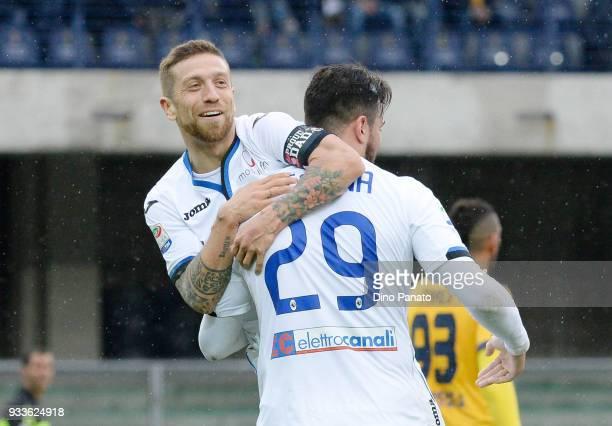 Alejandro Dario Gomez of Atalanta BC celebrates scoring his team's fifth goal goal during the serie A match between Hellas Verona FC and Atalanta BC...