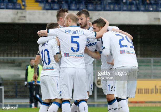 Alejandro Dario Gomez of Atalanta BC celebrates scoring his team's fifth goal goal during the serie A match between Hellas Verona FC and Atalanta BC...
