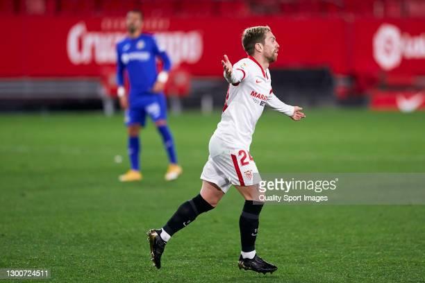 Alejandro Darío 'Papu' Gómez of Sevilla FC celebrates after scoring his team's second goal during the La Liga Santander match between Sevilla FC and...