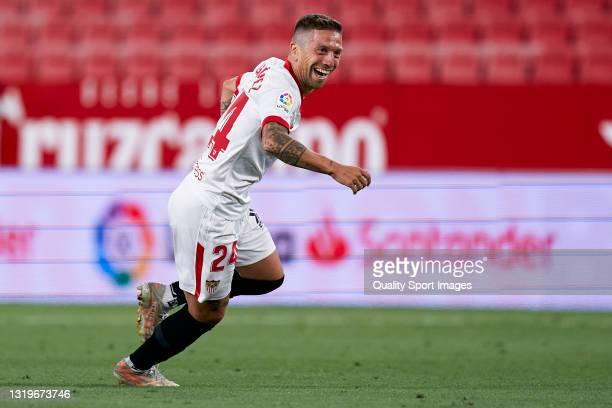 Alejandro Darío 'Papu' Gómez of Sevilla FC celebrates after scoring his team's first goal during the La Liga Santander match between Sevilla FC and...