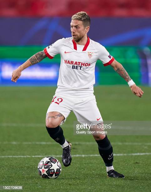 Alejandro Darío 'Papu' Gómez of Sevilla FC in action during the UEFA Champions League Round of 16 match between Sevilla FC and Borussia Dortmund at...