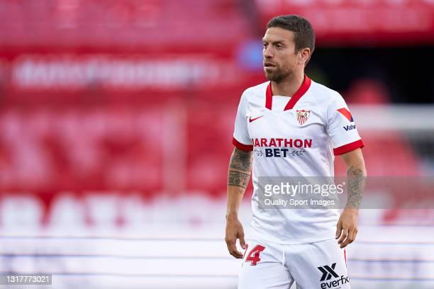 Alejandro Darío 'Papu' Gómez of Sevilla FC looks on during the La Liga Santander match between Sevilla FC and Valencia CF at Estadio Ramon Sanchez...