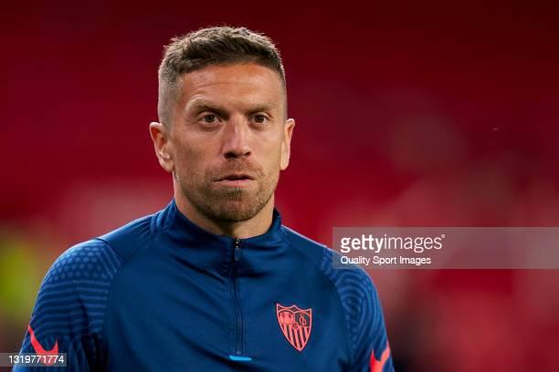 Alejandro Darío 'Papu' Gómez of Sevilla FC looks on during the La Liga Santander match between Sevilla FC and Deportivo Alavés at Estadio Ramon...