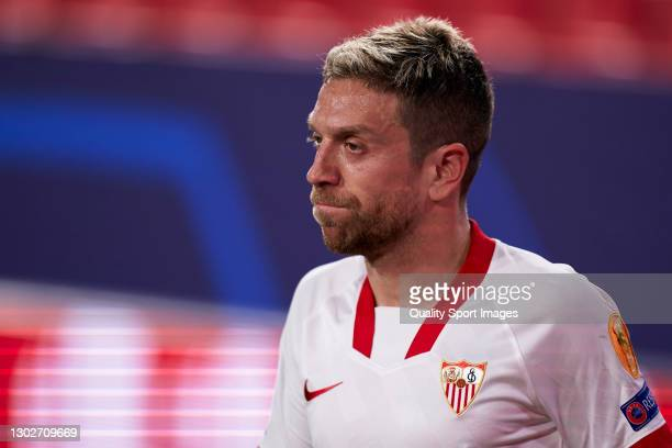 Alejandro Darío 'Papu' Gómez of Sevilla FC looks on during the UEFA Champions League Round of 16 match between Sevilla FC and Borussia Dortmund at...