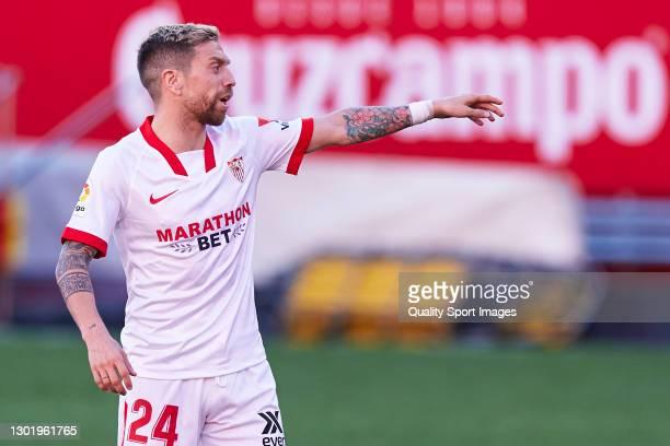 Alejandro Darío 'Papu' Gómez of Sevilla FC reacts during the La Liga Santander match between Sevilla FC and SD Huesca at Estadio Ramon Sanchez...
