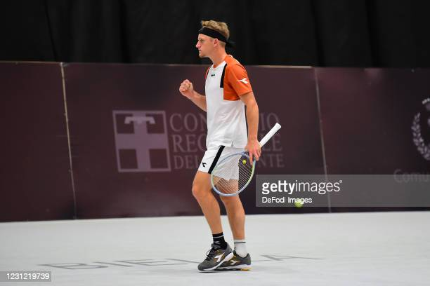 Alejandro Davidovich Fokina of Spain gestures during the Biella ATP Challenger 125 Qualification between Daniel Mausur and Luca Vanni at Palapajetta...