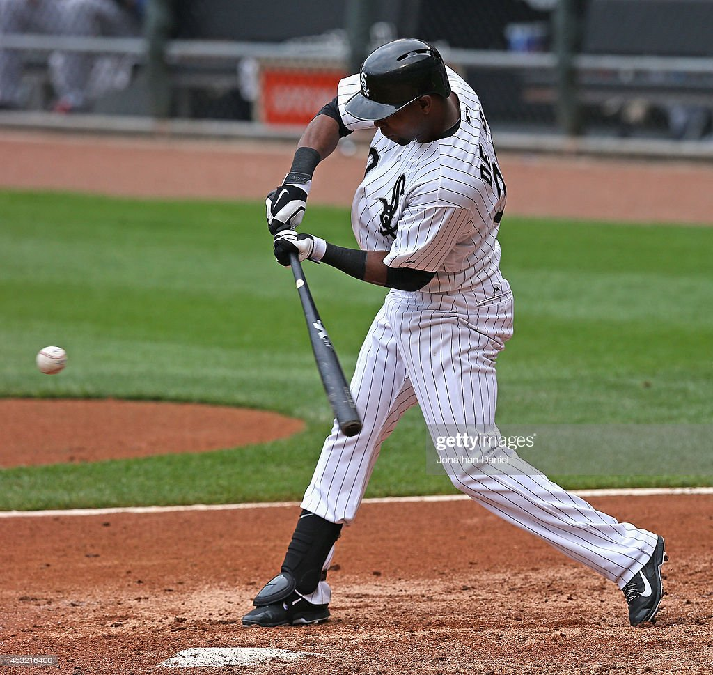 Alejandro De Aza #30 of the Chicago White Sox bats against the Minnesota Twins at U.S. Cellular Field on August 3, 2014 in Chicago, Illinois. The Twins defeated the White Sox 16-3.