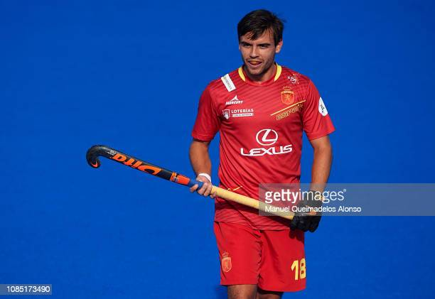 Alejandro de Frutos of Spain looks on during the Men's FIH Field Hockey Pro League match between Spain and Belgium at Polideportivo Virgel del...