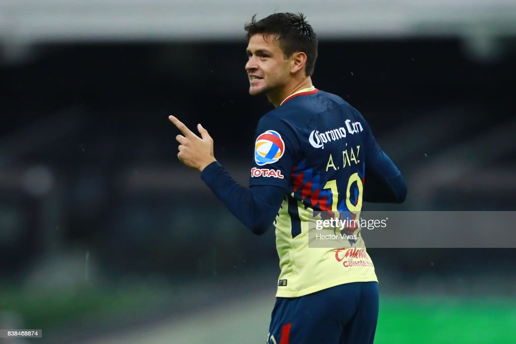 Alejandro Diaz of America celebrates after scoring the second goal of his team during the 6th round match between America and Tigres UANL as part of the Torneo Apertura 2017 Liga MX at Azteca Stadium on August 23, 2017 in Mexico City, Mexico.