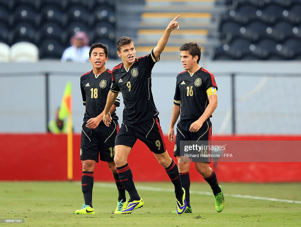 Alejandro Diaz of Mexico celebrates scoring a goal during the FIFA U-17 World Cup UAE 2013 Round of 16 match between Italy and Mexico at the Mohamed Bin Zayed Stadium on October 28, 2013 in Abu Dhabi, United Arab Emirates.