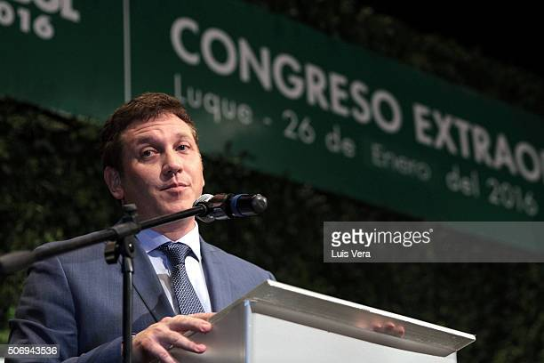 Alejandro Dominguez newly elected president of CONMEBOL speaks during CONMEBOL Presidential Elections at CONMEBOL headquarters on January 26, 2016 in...