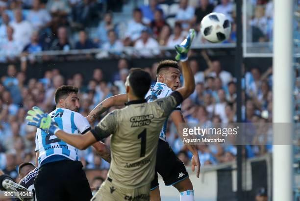 Alejandro Donatti of Racing Club scores during a match between Racing Club and Lanus as part of Argentine Superliga 2017/18 at Estadio Juan Domingo...
