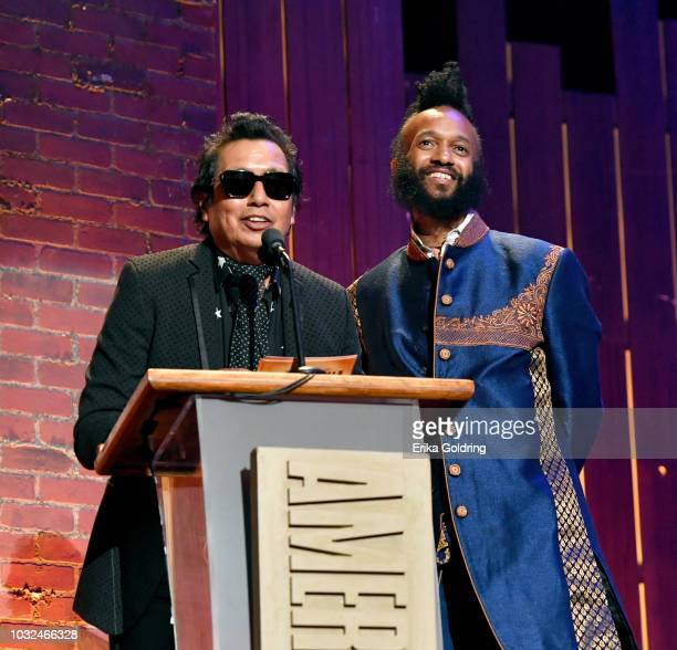 Alejandro Escovedo and Fantastic Negrito speak onstage during the 2018 Americana Music Honors and Awards at Ryman Auditorium on September 12 2018 in...