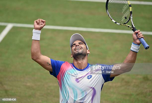 Alejandro Falla of Colombia celebrates after winning the half final match against Philipp Kohlschreiber of Germany during day six of the Gerry Weber...