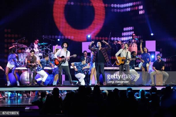 Alejandro Fernandez and Morat perform onstage at the Billboard Latin Music Awards at Watsco Center on April 27 2017 in Coral Gables Florida