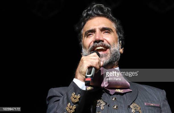 Alejandro Fernandez performs during his ROMPIENDO FRONTERAS tour at American Airlines Arena on August 25 2018 in Miami Florida