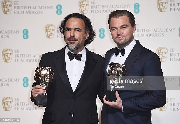 Alejandro G Iñárritu winner of Best Director for 'The Revenant' and Leonardo Dicaprio winner of Best Actor for 'The Revenant' pose in the winners...