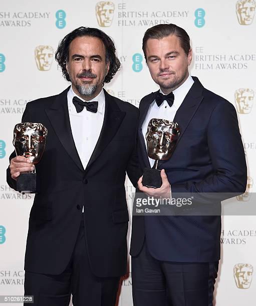 Alejandro G Iñárritu winner of Best Director for 'The Revenant' and Leonardo Dicaprio winner of Best Actor for 'The Revenant' pose in the winners...
