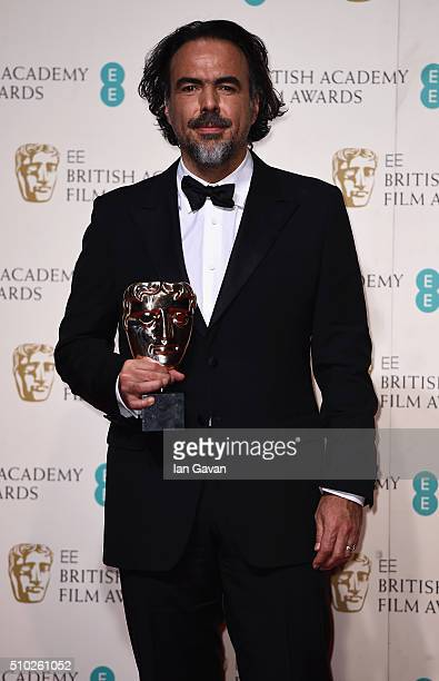 Alejandro G Iñárritu winner of Best Director for 'The Revenant' poses in the winners room at the EE British Academy Film Awards at the Royal Opera...