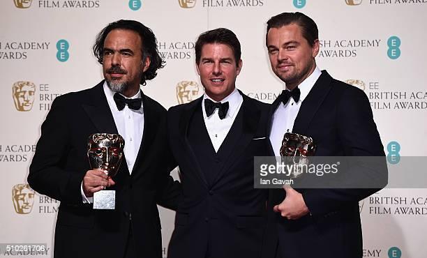 Alejandro G Iñárritu winner of Best Director for 'The Revenant' Tom Cruise and Leonardo Dicaprio winner of Best Actor for 'The Revenant' pose in the...
