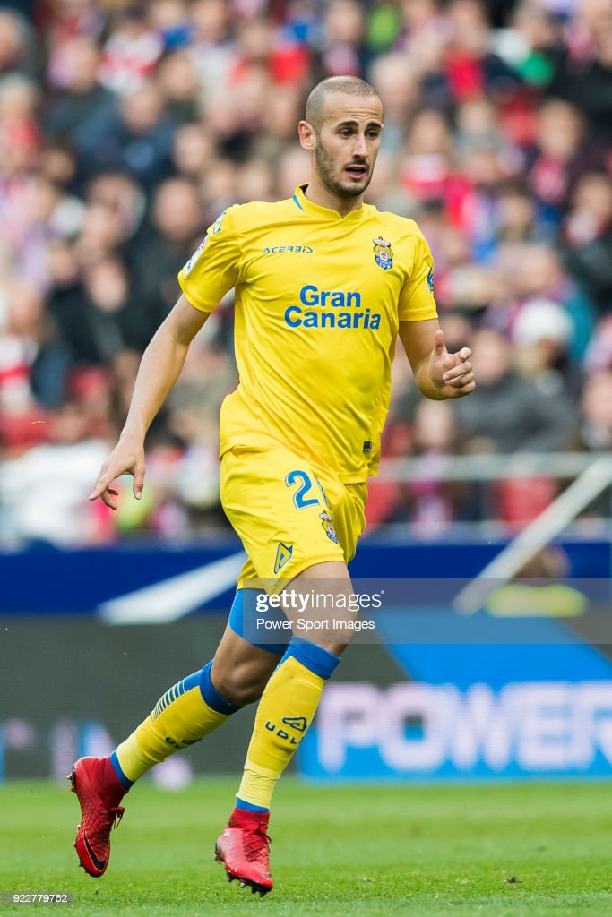 Alejandro Galvez Jimena of UD Las Palmas in action during the La Liga 2017-18 match between Atletico de Madrid and UD Las Palmas at Wanda Metropolitano on January 28 2018 in Madrid, Spain.