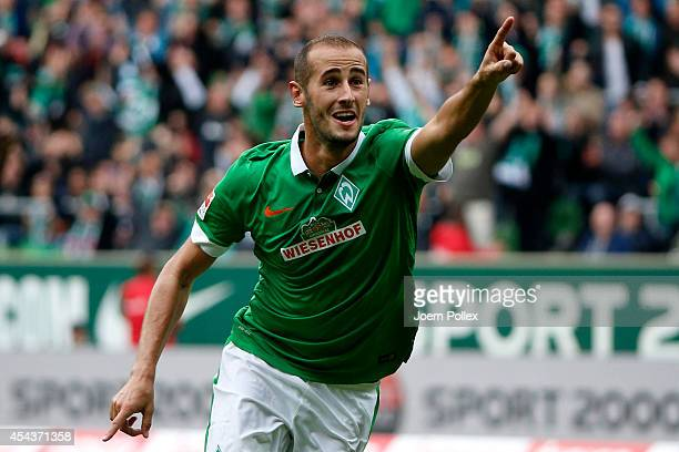 Alejandro Galvez of Bremen celebrates after scoring his team's first goal during the Bundesliga match between Werder Bremen and 1899 Hoffenheim at...